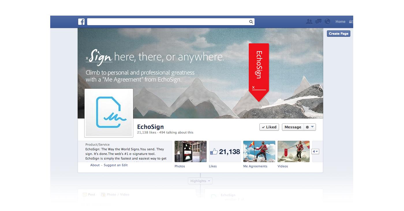 Adobe Echosign campaign facebook page