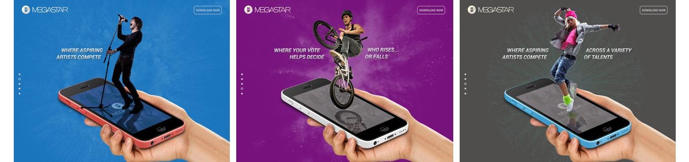 Megastar Landing Page Screens