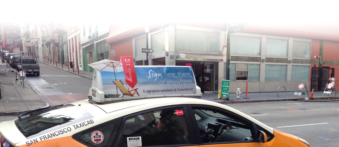 Adobe Echosign campaign wild posting on San Francisco taxi cab