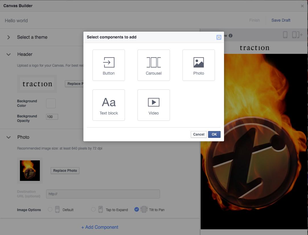 facebook canvas interface