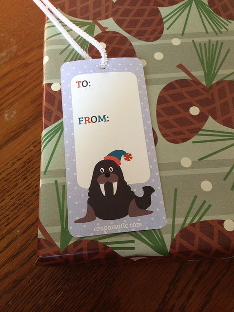walrus gift tag