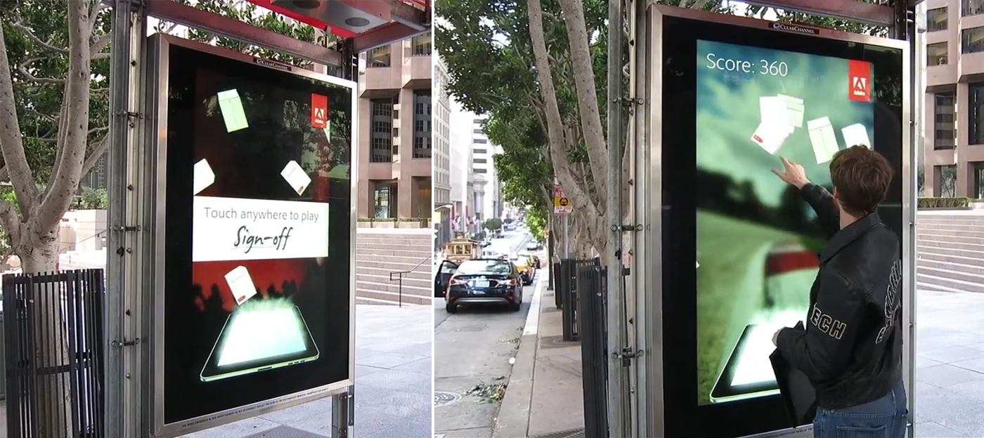 Adobe Echosign campaign wild posting at bus stop